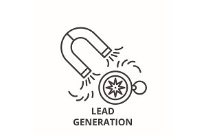 Lead generation line icon concept