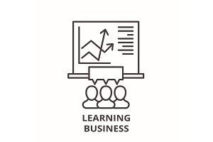 Learning business line icon concept