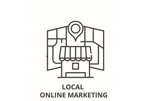 Local online marketing line icon