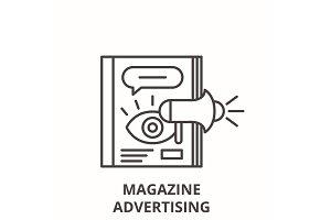 Magazine advertising line icon