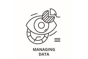 Managing data line icon concept