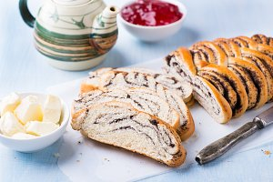 Sliced homemade poppy seed roll