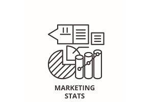Marketing stats line icon concept