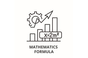 Mathematics formula line icon