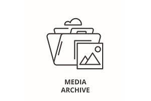 Media archive line icon concept