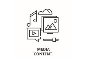 Media content line icon concept