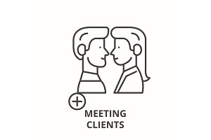 Meeting clients line icon concept