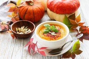 Bowl of pumpkin soup