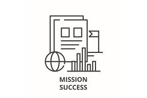 Mission success line icon concept