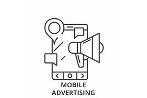 Mobile advertising line icon concept