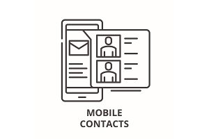 Mobile contacts line icon concept