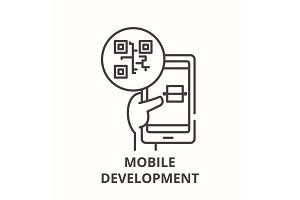Mobile development line icon concept