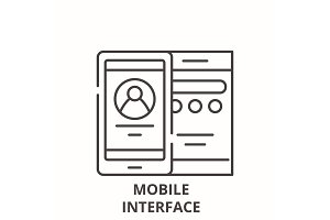 Mobile interface line icon concept