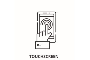 Mobile touchscreen  line icon concep