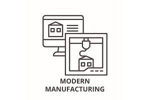 Modern manufacturing line icon