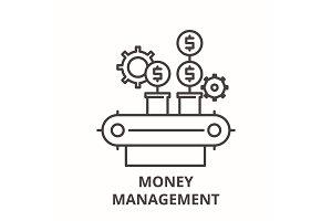 Money management line icon concept