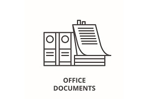 Office documents line icon concept