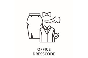 Office dresscode line icon concept