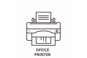 Office printer line icon concept