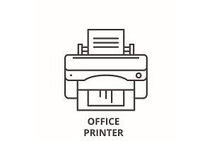 Office printer line icon concept