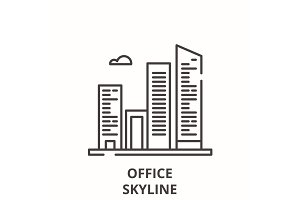 Office skyline line icon concept