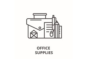 Office supplies line icon concept
