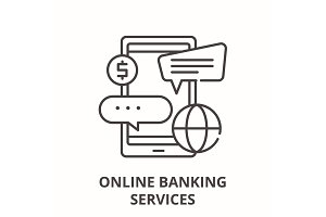 Online banking services line icon