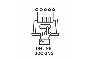 Online booking line icon concept