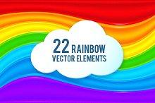 22 rainbow vector elements