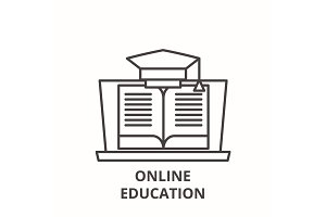 Online education line icon concept