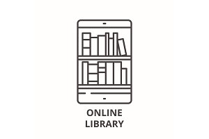 Online library line icon concept