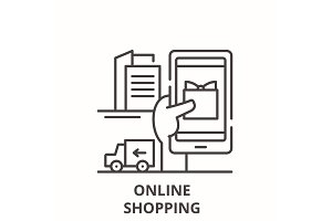 Online shopping line icon concept