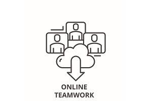 Online teamwork line icon concept