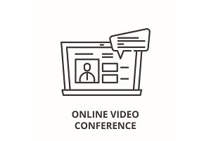 Online video conference line icon