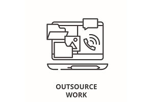 Outsource work line icon concept