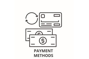 Payment methods line icon concept