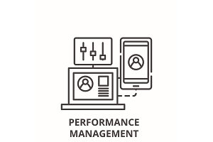 Performance management line icon
