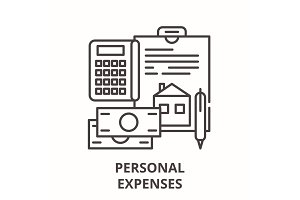 Personal expenses line icon concept