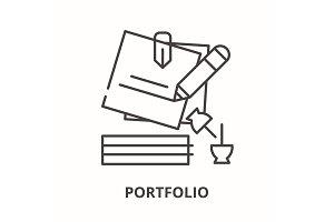 Portfolio line icon concept
