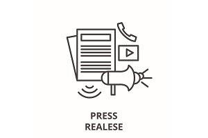Press realese line icon concept