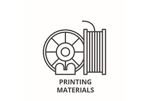 Printing materials line icon concept