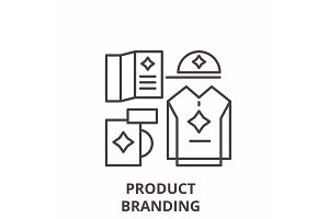 Product branding line icon concept