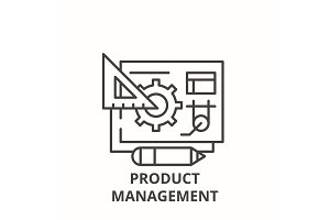 Product management line icon concept