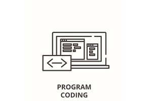 Program coding line icon concept