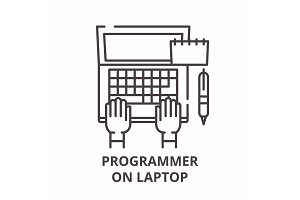 Programmer on laptop line icon
