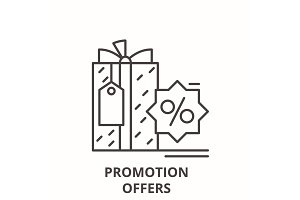 Promotion offers line icon concept