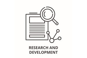 Research and development line icon