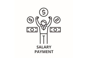 Salary payment line icon concept