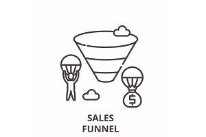 Sales funnel line icon concept
