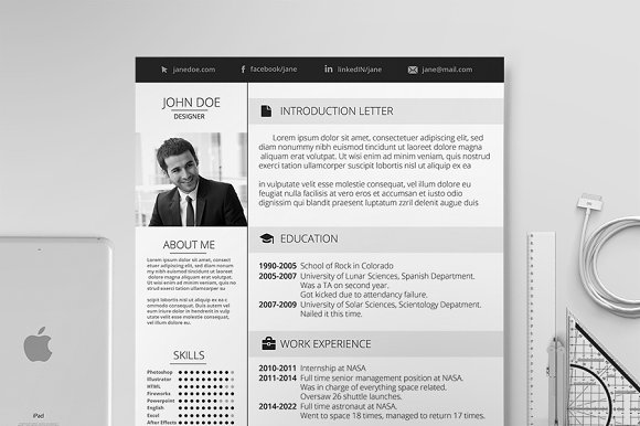 Elegant resume resume templates creative market for Elegant resume